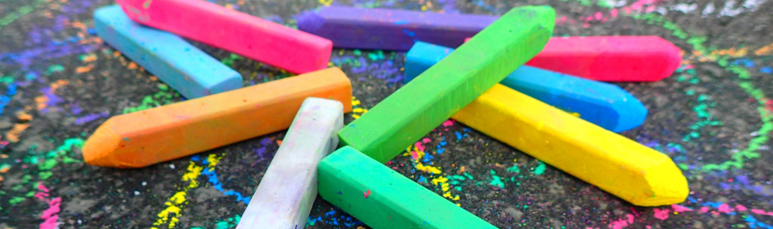 chalks of different colours