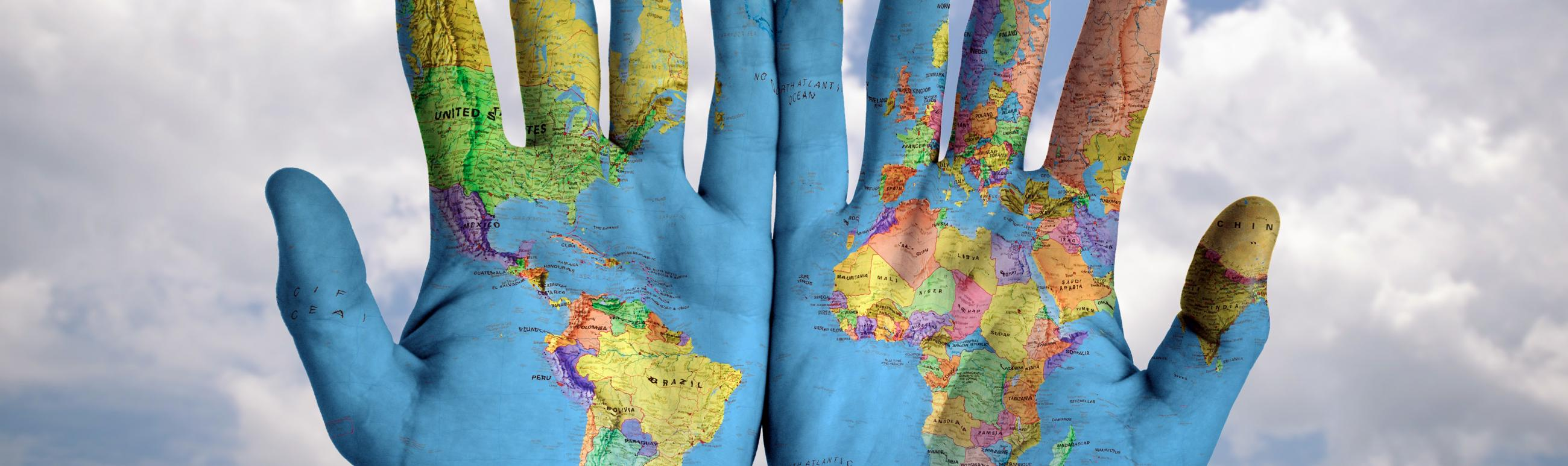 World of the map on hands